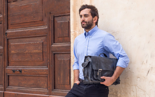 Natural leather bags for men
